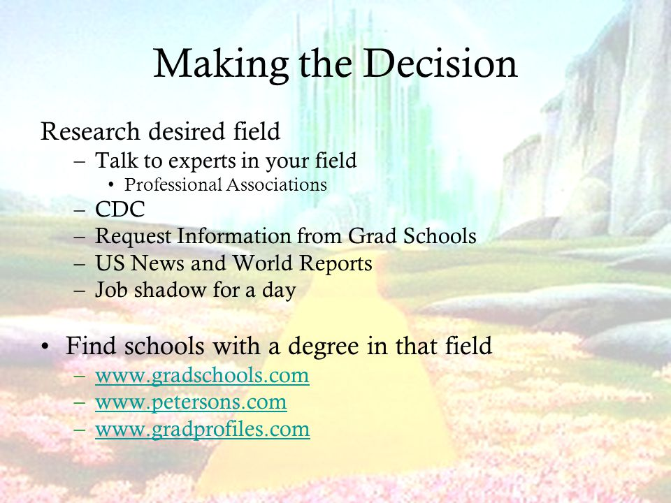 Making the Decision Research desired field –Talk to experts in your field Professional Associations –CDC –Request Information from Grad Schools –US News and World Reports –Job shadow for a day Find schools with a degree in that field –  –  –