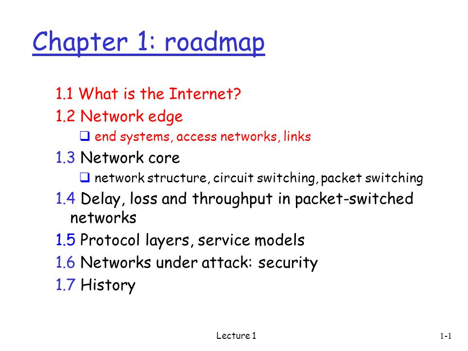 Lecture Chapter 1: roadmap 1.1 What is the Internet.