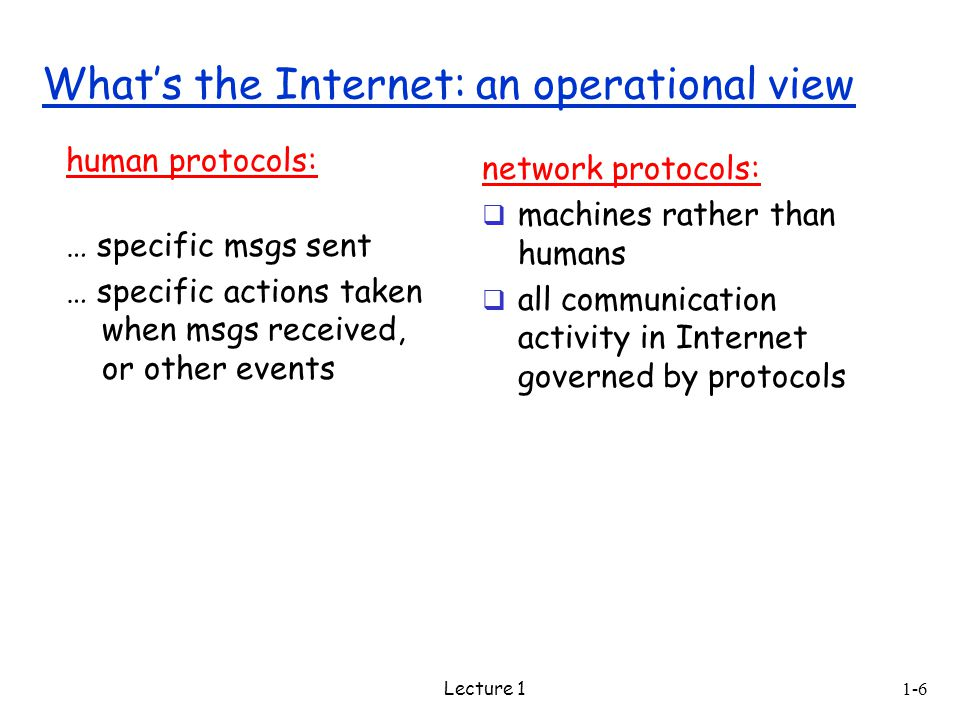 1-6 Lecture 1 human protocols: … specific msgs sent … specific actions taken when msgs received, or other events network protocols:  machines rather than humans  all communication activity in Internet governed by protocols What's the Internet: an operational view