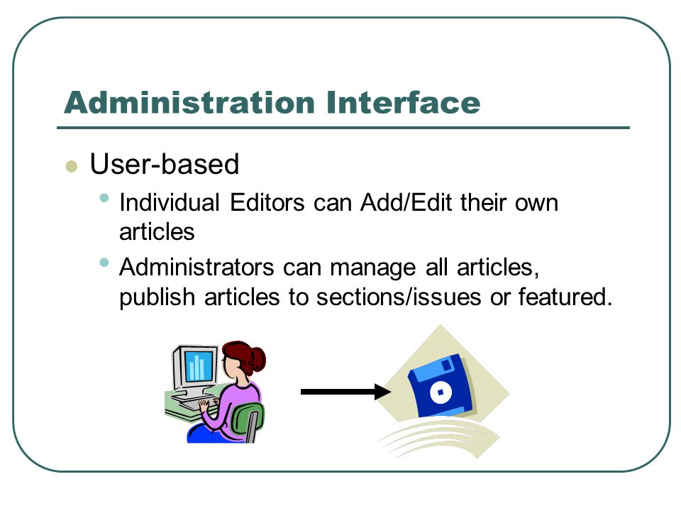 Administration Interface User-based Individual Editors can Add/Edit their own articles Administrators can manage all articles, publish articles to sections/issues or featured.