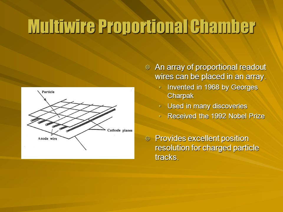 Multiwire Proportional Chamber  An array of proportional readout wires can be placed in an array.