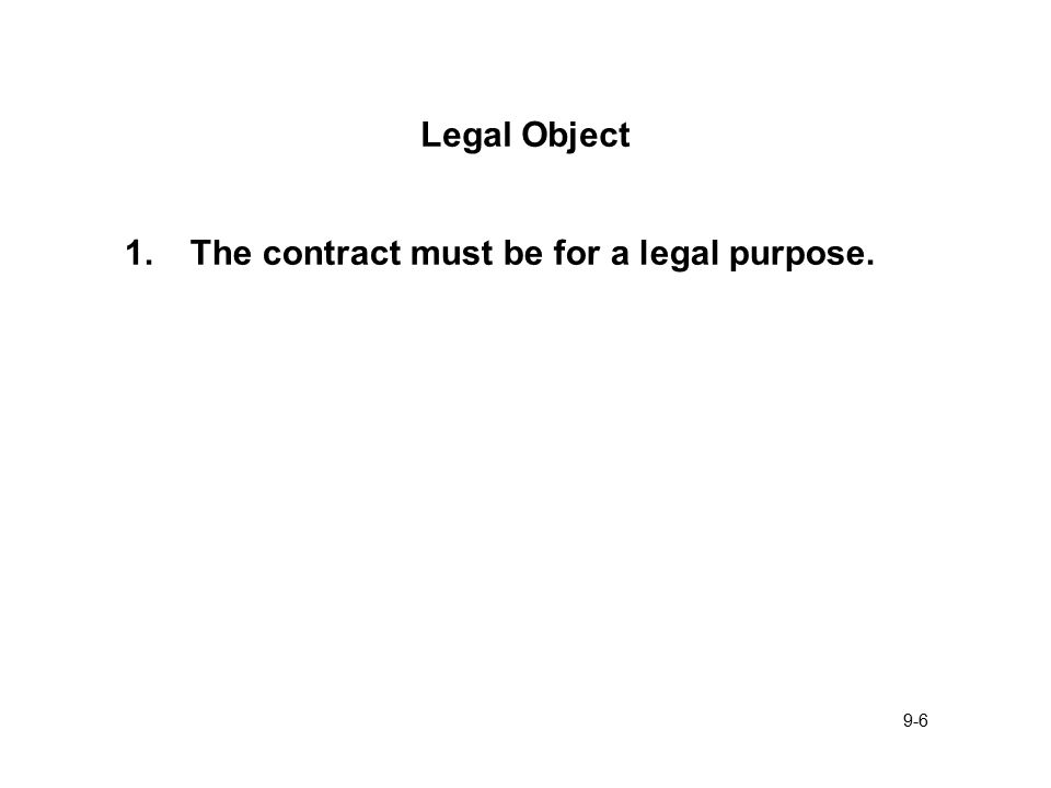 9-1 General Requirements - Enforceable Contract 1.Offer And