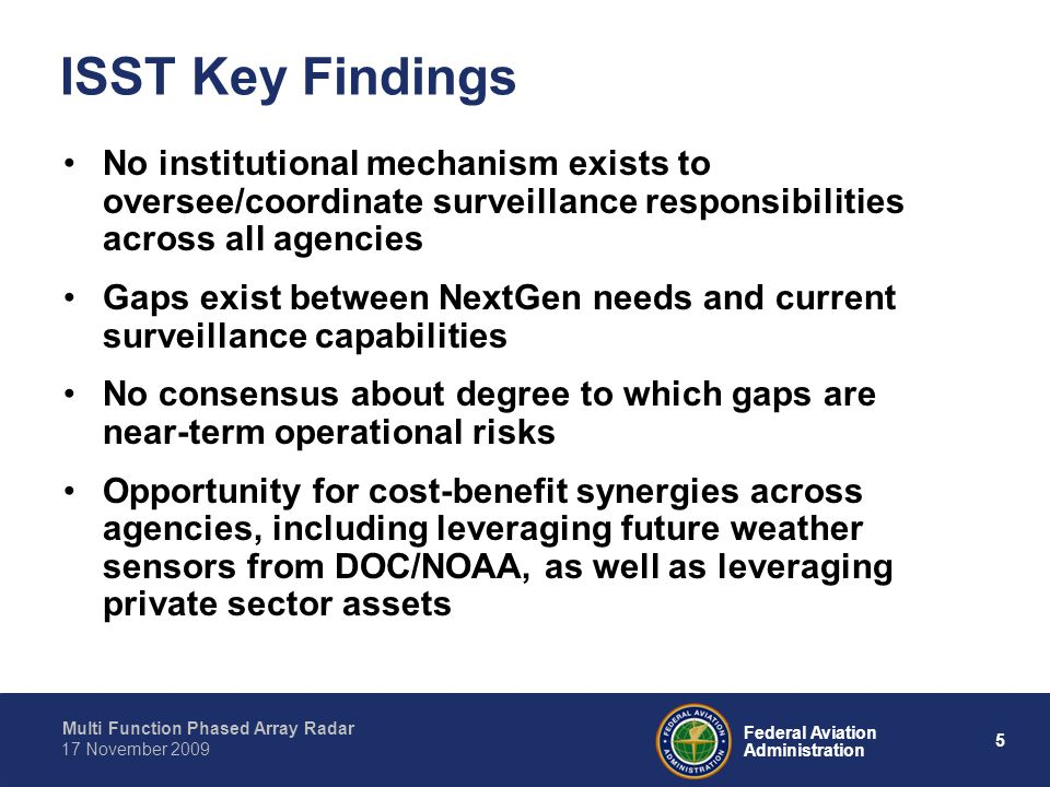 Multi Function Phased Array Radar 5 Federal Aviation Administration 17 November 2009 ISST Key Findings No institutional mechanism exists to oversee/coordinate surveillance responsibilities across all agencies Gaps exist between NextGen needs and current surveillance capabilities No consensus about degree to which gaps are near-term operational risks Opportunity for cost-benefit synergies across agencies, including leveraging future weather sensors from DOC/NOAA, as well as leveraging private sector assets