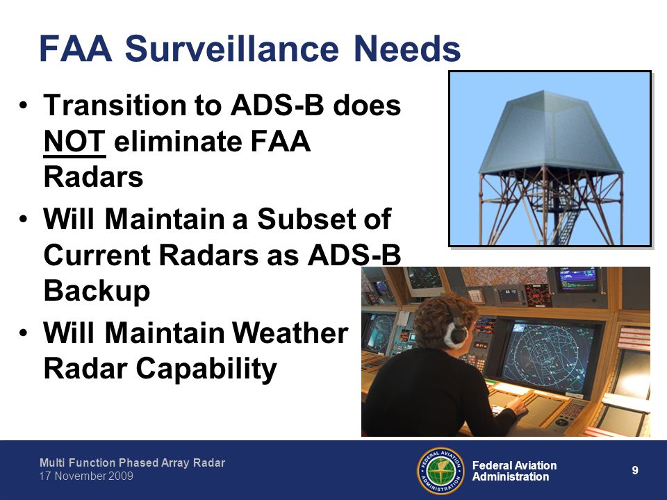 Multi Function Phased Array Radar 9 Federal Aviation Administration 17 November 2009 FAA Surveillance Needs Transition to ADS-B does NOT eliminate FAA Radars Will Maintain a Subset of Current Radars as ADS-B Backup Will Maintain Weather Radar Capability