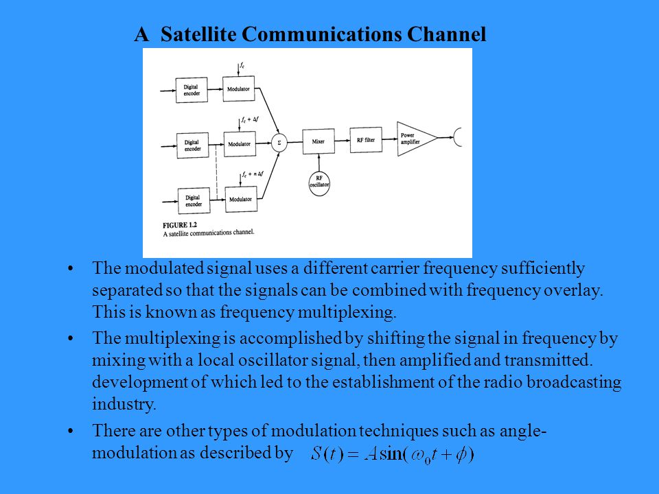 A Satellite Communications Channel The modulated signal uses a different carrier frequency sufficiently separated so that the signals can be combined with frequency overlay.