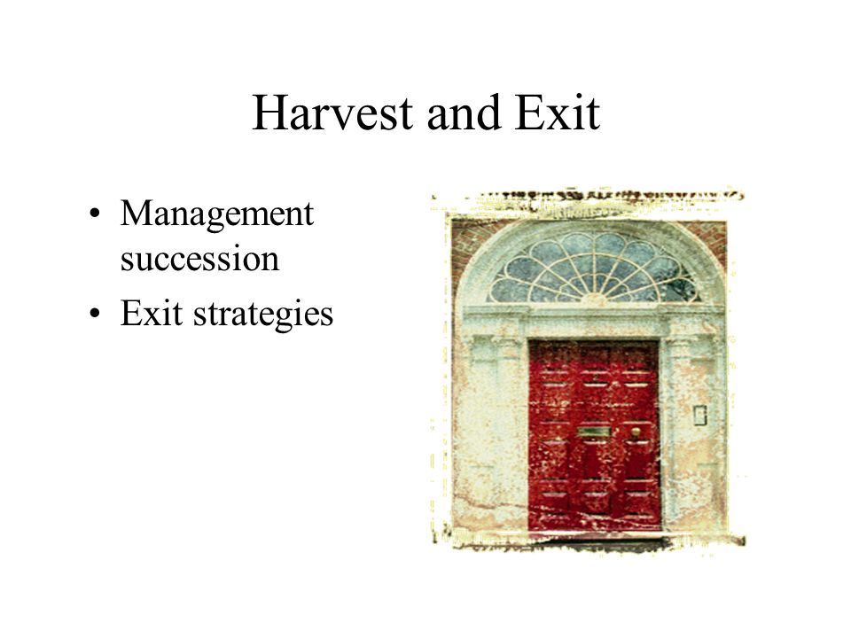 Harvest and Exit Management succession Exit strategies