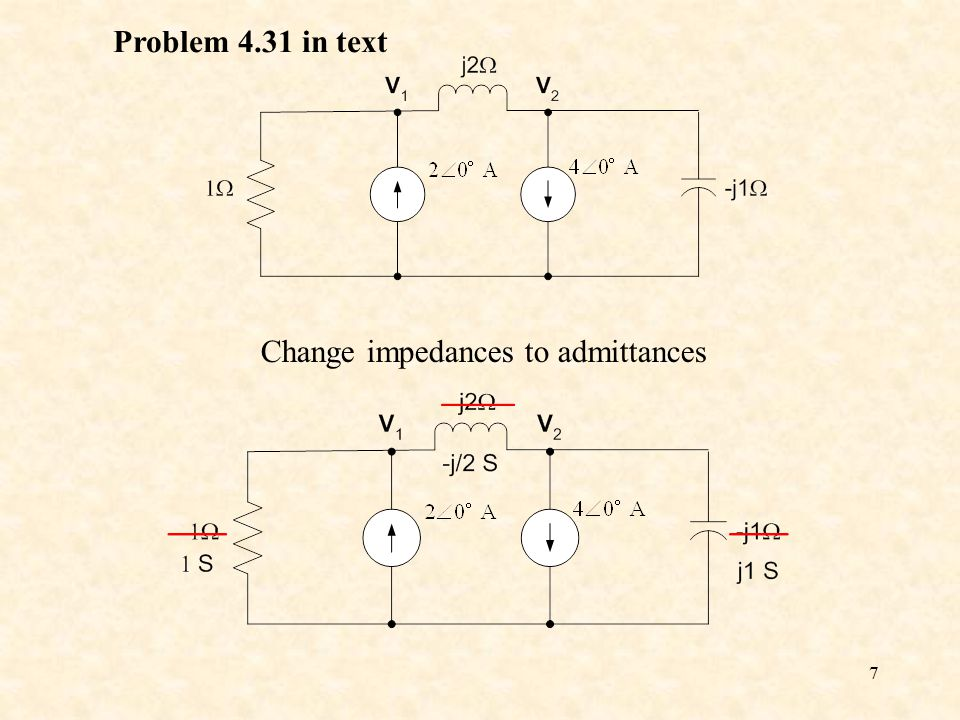 7 Problem 4.31 in text Change impedances to admittances