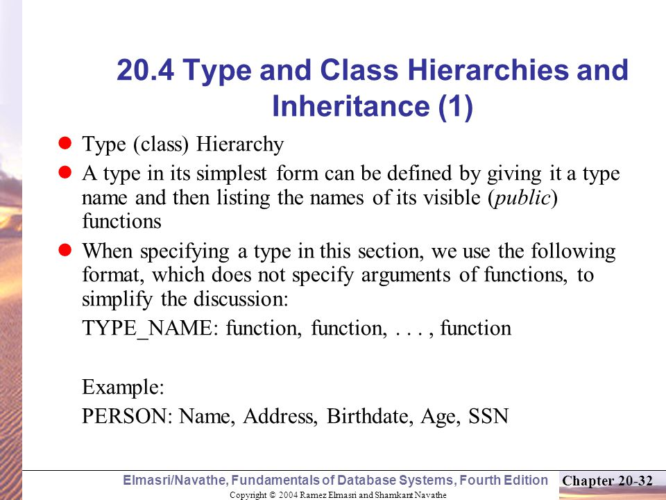 Chapter 20 Concepts for Object-Oriented Databases Copyright © 2004 ...