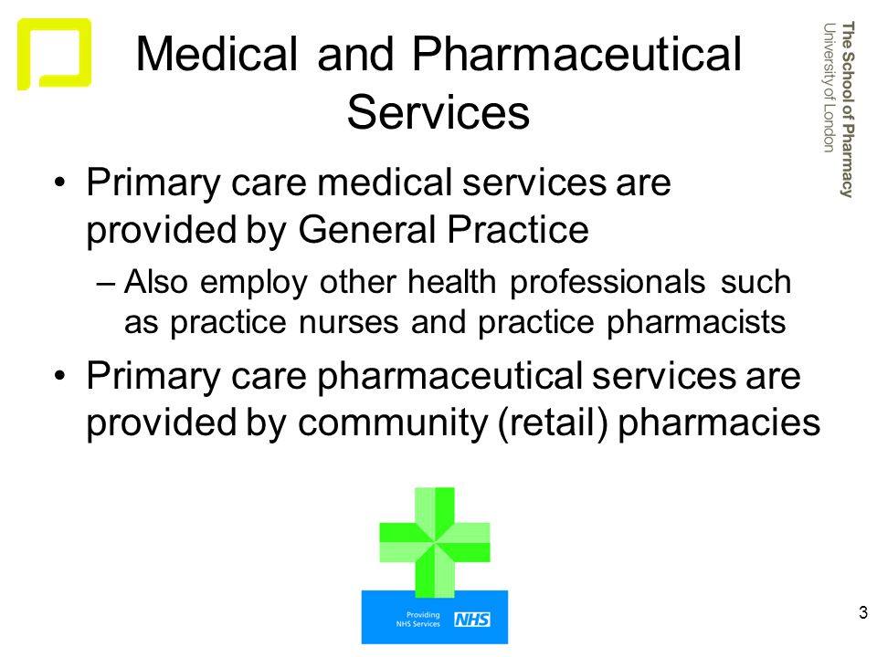 3 Medical and Pharmaceutical Services Primary care medical services are provided by General Practice –Also employ other health professionals such as practice nurses and practice pharmacists Primary care pharmaceutical services are provided by community (retail) pharmacies