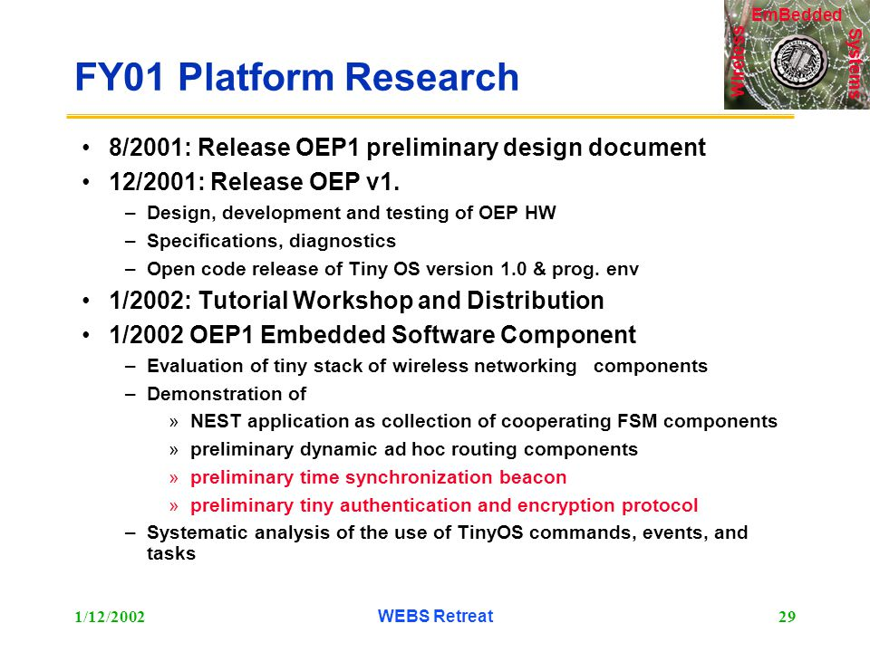 Systems Wireless EmBedded 1/12/2002WEBS Retreat29 FY01 Platform Research 8/2001: Release OEP1 preliminary design document 12/2001: Release OEP v1.