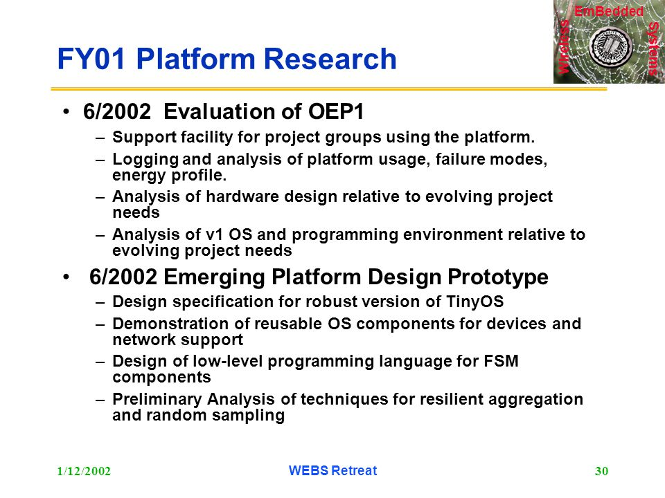 Systems Wireless EmBedded 1/12/2002WEBS Retreat30 FY01 Platform Research 6/2002 Evaluation of OEP1 –Support facility for project groups using the platform.