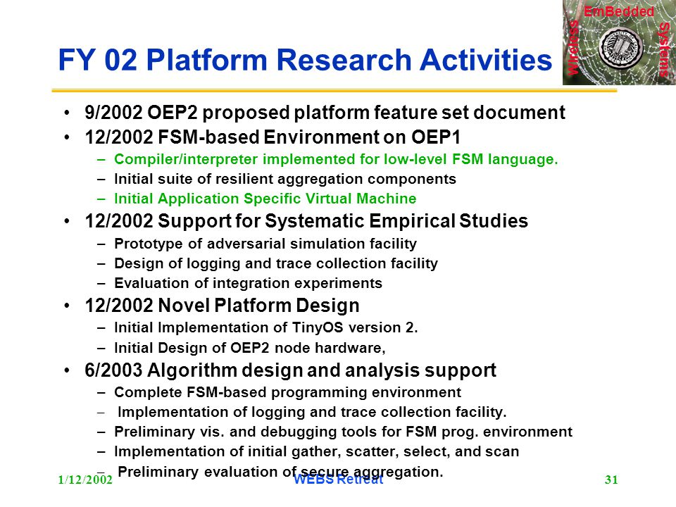 Systems Wireless EmBedded 1/12/2002WEBS Retreat31 FY 02 Platform Research Activities 9/2002 OEP2 proposed platform feature set document 12/2002 FSM-based Environment on OEP1 –Compiler/interpreter implemented for low-level FSM language.