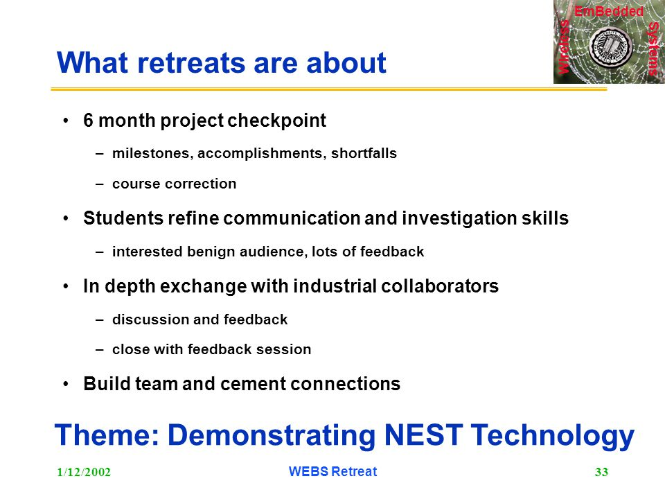 Systems Wireless EmBedded 1/12/2002WEBS Retreat33 What retreats are about 6 month project checkpoint –milestones, accomplishments, shortfalls –course correction Students refine communication and investigation skills –interested benign audience, lots of feedback In depth exchange with industrial collaborators –discussion and feedback –close with feedback session Build team and cement connections Theme: Demonstrating NEST Technology