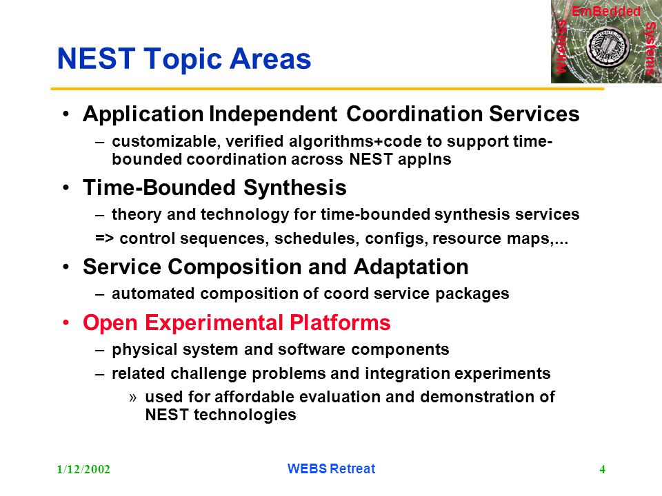 Systems Wireless EmBedded 1/12/2002WEBS Retreat4 NEST Topic Areas Application Independent Coordination Services –customizable, verified algorithms+code to support time- bounded coordination across NEST applns Time-Bounded Synthesis –theory and technology for time-bounded synthesis services => control sequences, schedules, configs, resource maps,...