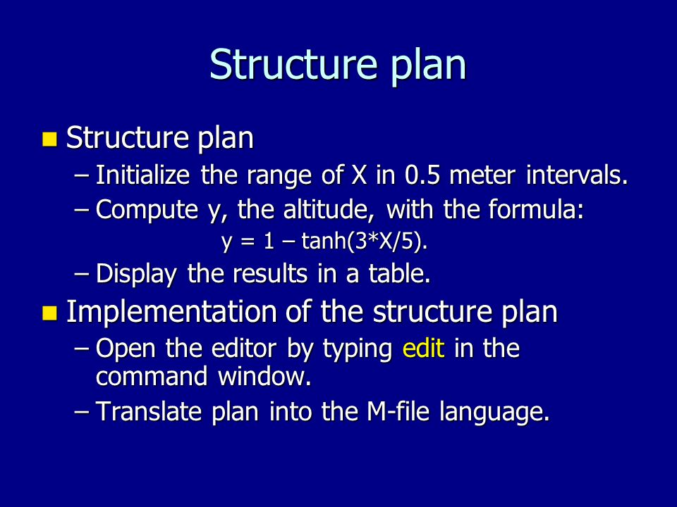 Structure plan Structure plan Structure plan –Initialize the range of X in 0.5 meter intervals.