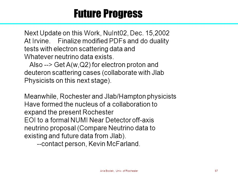 Arie Bodek, Univ. of Rochester67 Next Update on this Work, NuInt02, Dec.