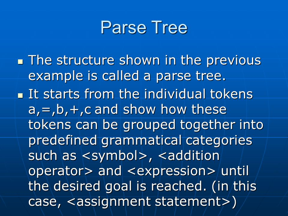Parse Tree The structure shown in the previous example is called a parse tree.