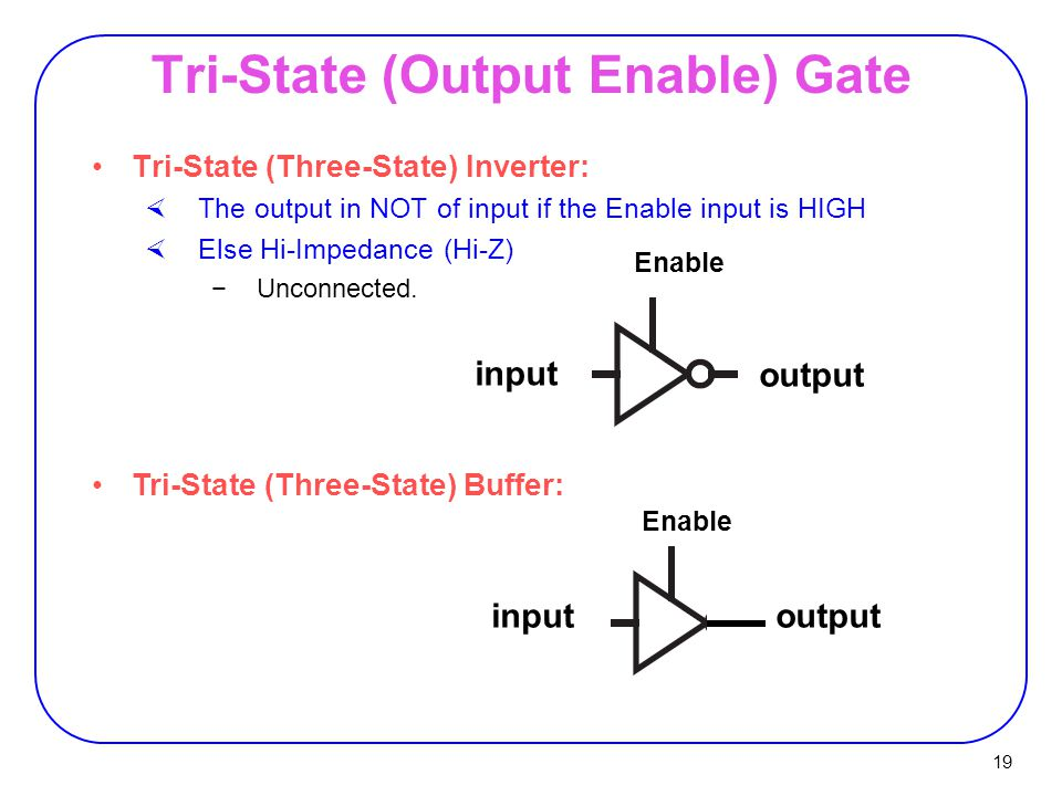 19 Tri-State (Output Enable) Gate Tri-State (Three-State) Inverter:  The output in NOT of input if the Enable input is HIGH  Else Hi-Impedance (Hi-Z) −Unconnected.
