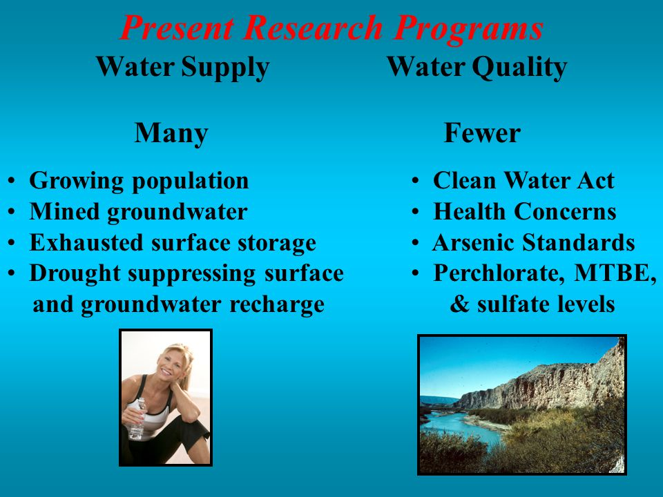 Present Research Programs Water Supply Water Quality ManyFewer Growing population Mined groundwater Exhausted surface storage Drought suppressing surface and groundwater recharge Clean Water Act Health Concerns Arsenic Standards Perchlorate, MTBE, & sulfate levels