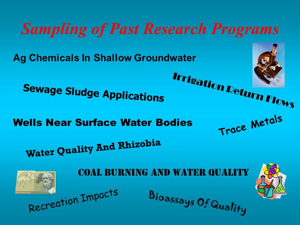 Sampling of Past Research Programs Ag Chemicals In Shallow Groundwater Sewage Sludge Applications Wells Near Surface Water Bodies Water Quality And Rhizobia Coal Burning And Water Quality Recreation Impacts Irrigation Return Flows Bioassays Of Quality Trace Metals