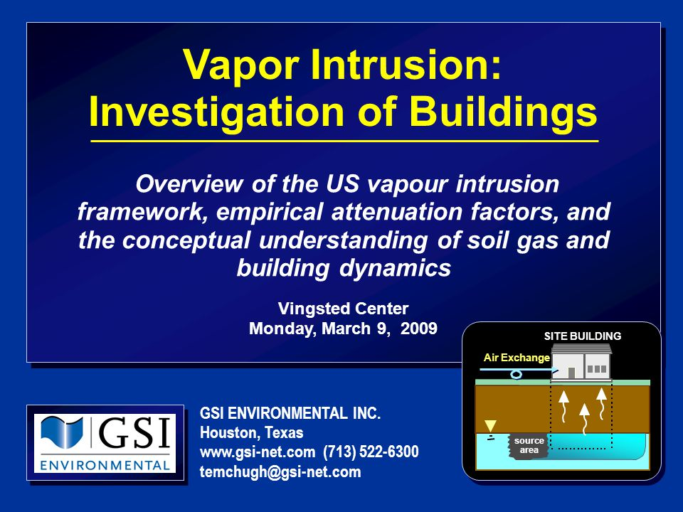 Vapor Intrusion: Investigation of Buildings Overview of the US vapour intrusion framework, empirical attenuation factors, and the conceptual understanding of soil gas and building dynamics Vingsted Center Monday, March 9, 2009 GSI ENVIRONMENTAL INC.