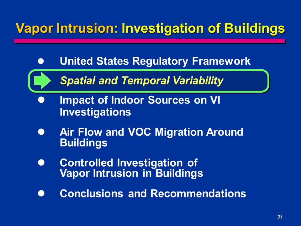 21 Vapor Intrusion: Investigation of Buildings United States Regulatory Framework Spatial and Temporal Variability Impact of Indoor Sources on VI Investigations Air Flow and VOC Migration Around Buildings Controlled Investigation of Vapor Intrusion in Buildings Conclusions and Recommendations