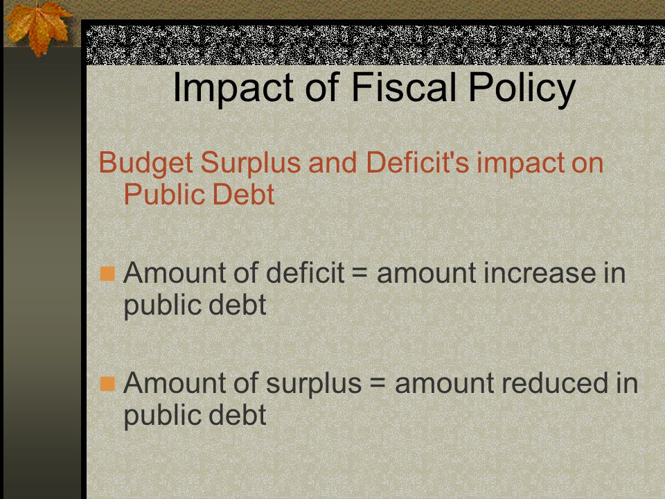Impact of Fiscal Policy Budget Surplus and Deficit s impact on Public Debt Amount of deficit = amount increase in public debt Amount of surplus = amount reduced in public debt