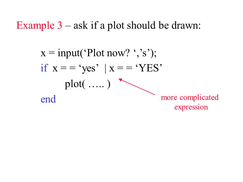 Example 3 – ask if a plot should be drawn: x = input('Plot now.