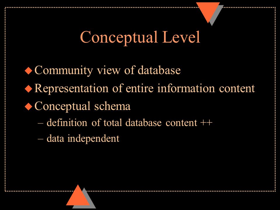 Conceptual Level u Community view of database u Representation of entire information content u Conceptual schema –definition of total database content ++ –data independent