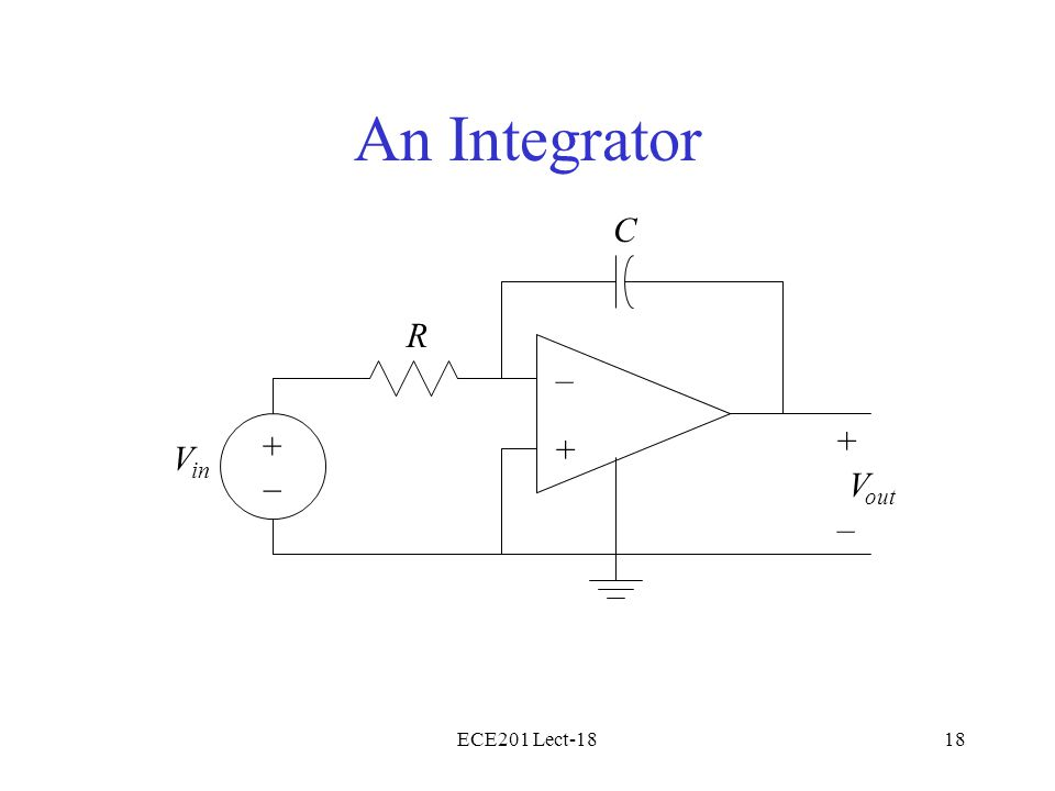 ECE201 Lect-1818 An Integrator – + V in + – V out R C +–+–