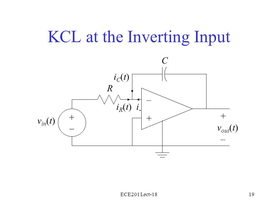ECE201 Lect-1819 KCL at the Inverting Input – + v in (t) + – R C v out (t) iR(t)iR(t) iC(t)iC(t) i-i- +–+–