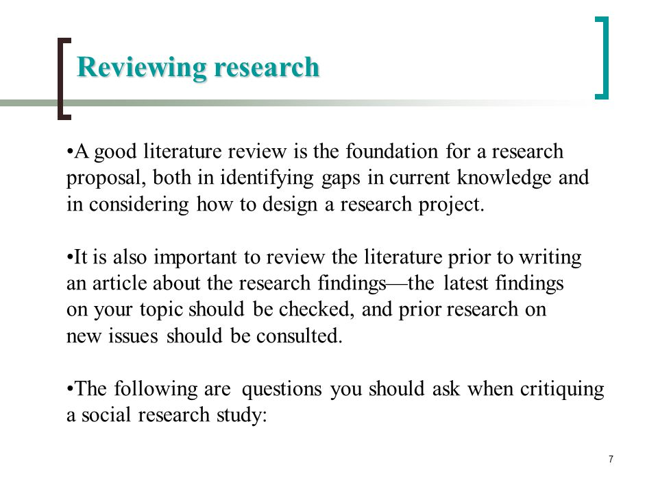 In the context of a research paper on a thesis  the literature review provides FC