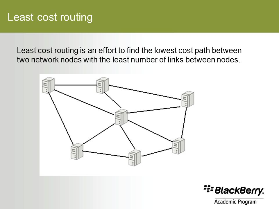 Least cost routing Least cost routing is an effort to find the lowest cost path between two network nodes with the least number of links between nodes.