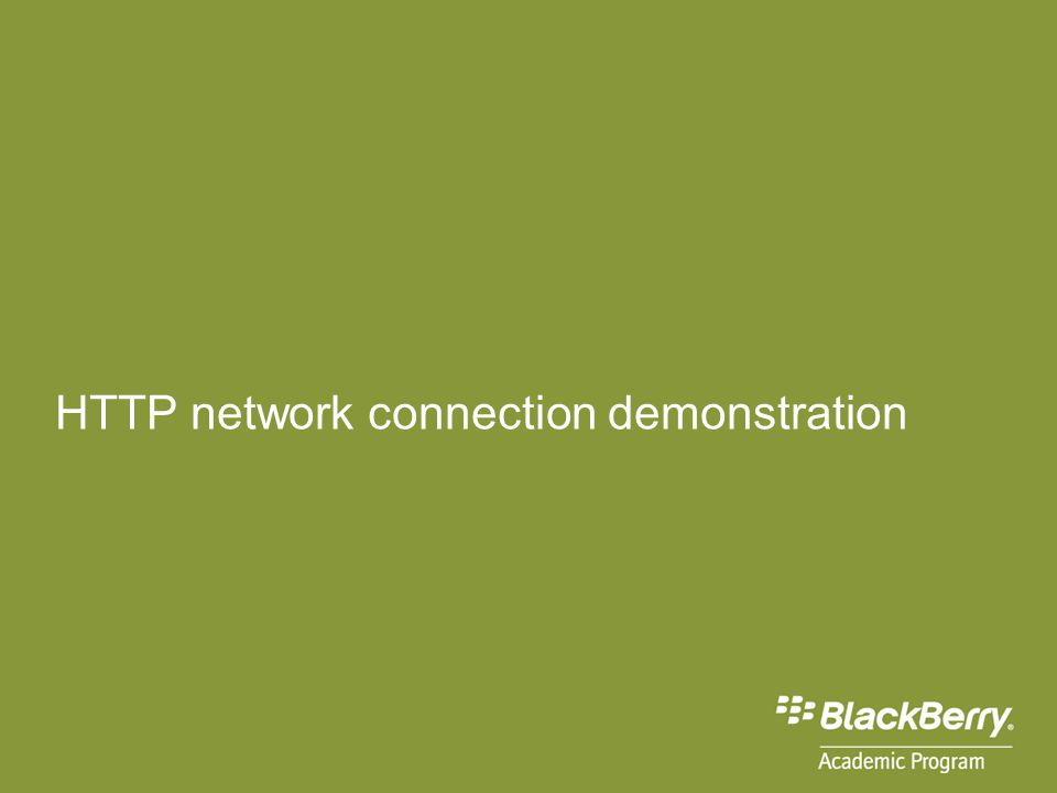 HTTP network connection demonstration
