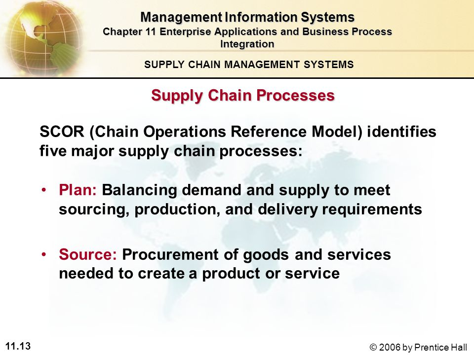 11.13 © 2006 by Prentice Hall SUPPLY CHAIN MANAGEMENT SYSTEMS Plan: Balancing demand and supply to meet sourcing, production, and delivery requirements Source: Procurement of goods and services needed to create a product or service Supply Chain Processes SCOR (Chain Operations Reference Model) identifies five major supply chain processes: Management Information Systems Chapter 11 Enterprise Applications and Business Process Integration