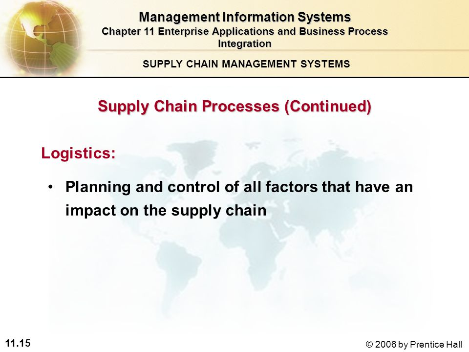 11.15 © 2006 by Prentice Hall SUPPLY CHAIN MANAGEMENT SYSTEMS Planning and control of all factors that have an impact on the supply chain Logistics: Management Information Systems Chapter 11 Enterprise Applications and Business Process Integration Supply Chain Processes (Continued)