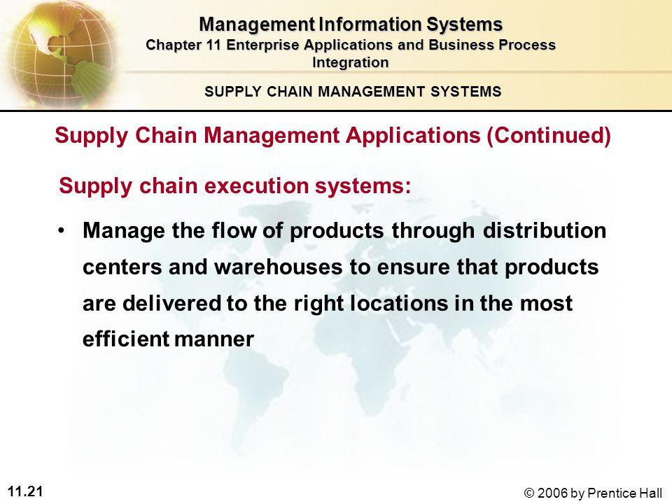 11.21 © 2006 by Prentice Hall SUPPLY CHAIN MANAGEMENT SYSTEMS Supply chain execution systems: Manage the flow of products through distribution centers and warehouses to ensure that products are delivered to the right locations in the most efficient manner Management Information Systems Chapter 11 Enterprise Applications and Business Process Integration Supply Chain Management Applications (Continued)