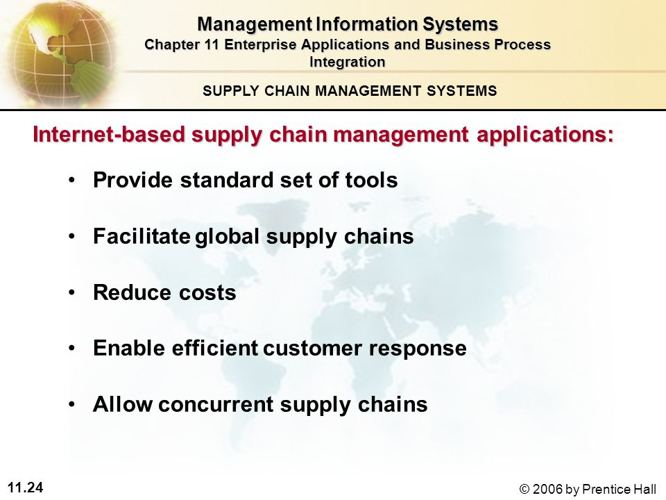 11.24 © 2006 by Prentice Hall SUPPLY CHAIN MANAGEMENT SYSTEMS Internet-based supply chain management applications: Provide standard set of tools Facilitate global supply chains Reduce costs Enable efficient customer response Allow concurrent supply chains Management Information Systems Chapter 11 Enterprise Applications and Business Process Integration