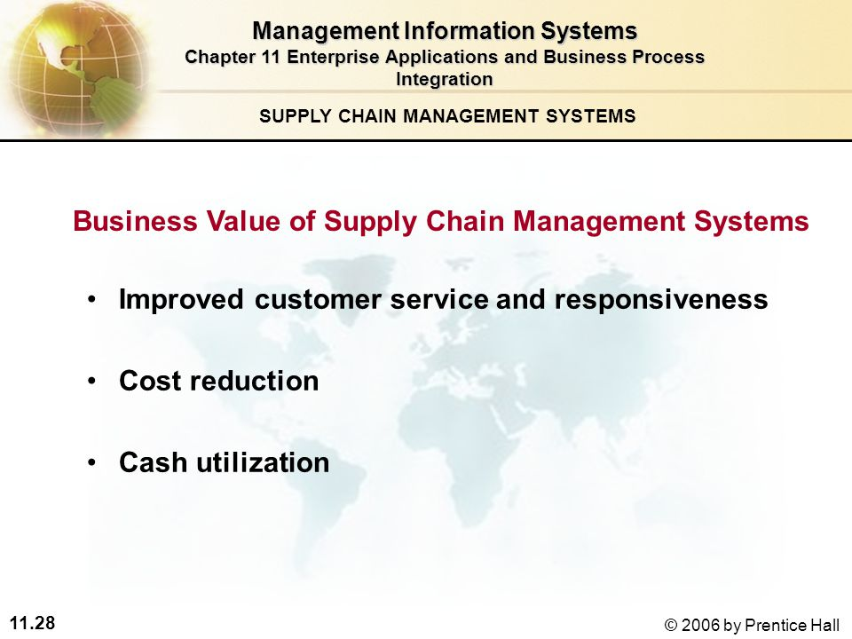 11.28 © 2006 by Prentice Hall SUPPLY CHAIN MANAGEMENT SYSTEMS Business Value of Supply Chain Management Systems Improved customer service and responsiveness Cost reduction Cash utilization Management Information Systems Chapter 11 Enterprise Applications and Business Process Integration