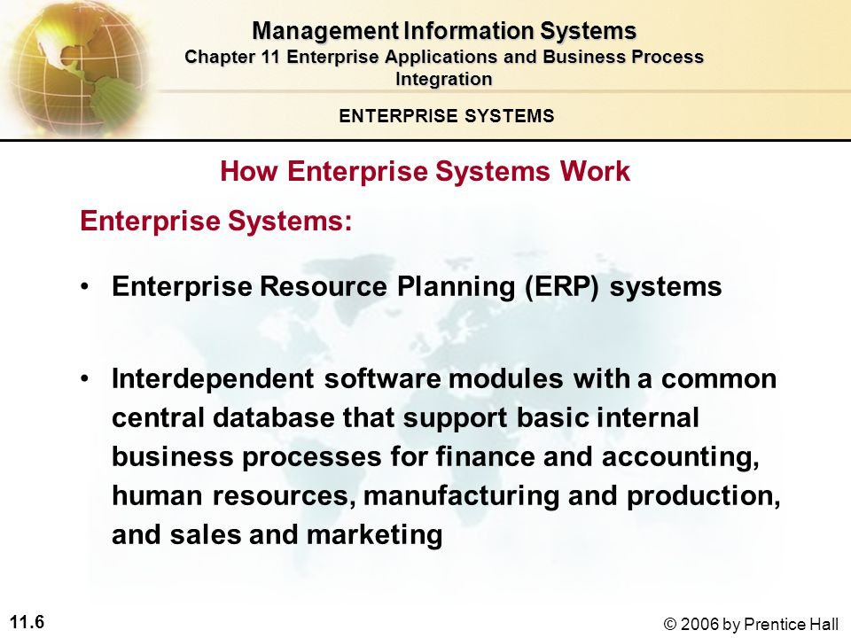 11.6 © 2006 by Prentice Hall How Enterprise Systems Work ENTERPRISE SYSTEMS Enterprise Resource Planning (ERP) systems Interdependent software modules with a common central database that support basic internal business processes for finance and accounting, human resources, manufacturing and production, and sales and marketing Management Information Systems Chapter 11 Enterprise Applications and Business Process Integration Enterprise Systems: