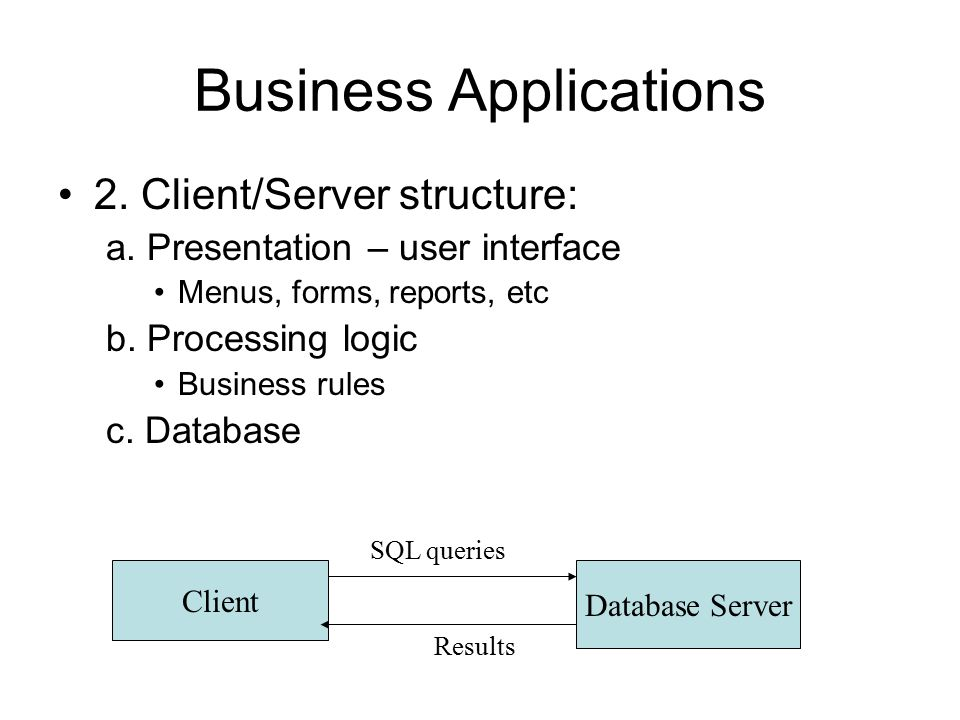 Business Applications 2. Client/Server structure: a.