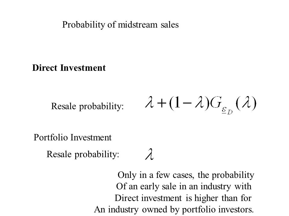 Probability of midstream sales Direct Investment Resale probability: Portfolio Investment Resale probability: Only in a few cases, the probability Of an early sale in an industry with Direct investment is higher than for An industry owned by portfolio investors.