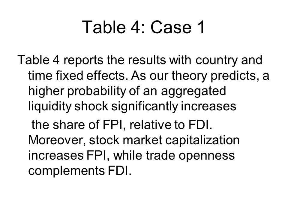 Table 4: Case 1 Table 4 reports the results with country and time fixed effects.