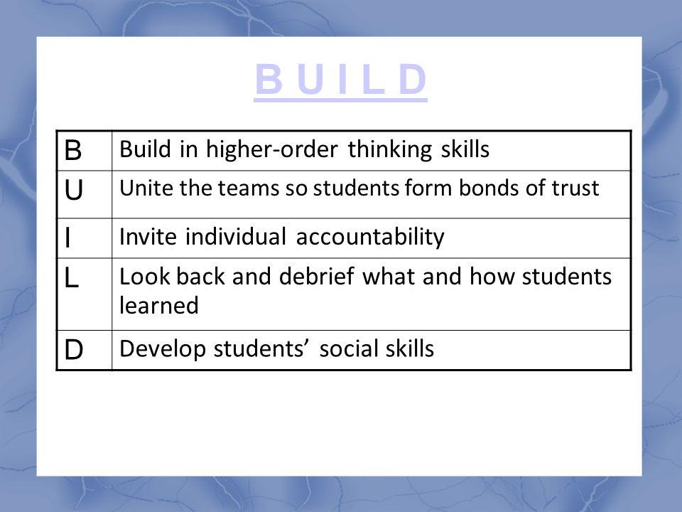 B U I L D B Build in higher-order thinking skills U Unite the teams so students form bonds of trust I Invite individual accountability L Look back and