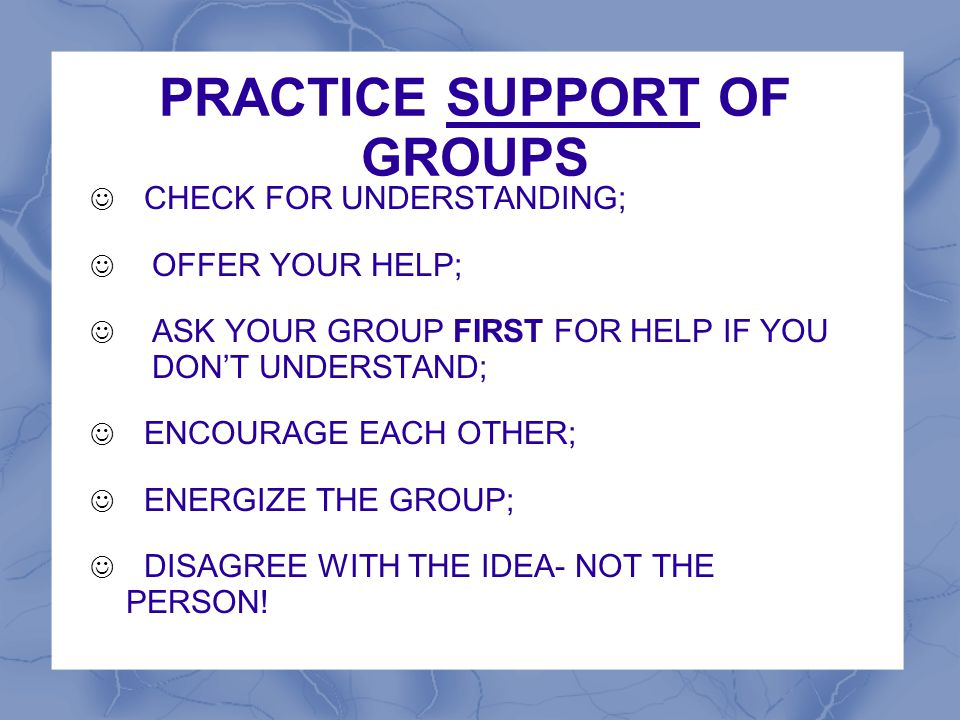 PRACTICE SUPPORT OF GROUPS CHECK FOR UNDERSTANDING; OFFER YOUR HELP; ASK YOUR GROUP FIRST FOR HELP IF YOU DON'T UNDERSTAND; ENCOURAGE EACH OTHER; ENER