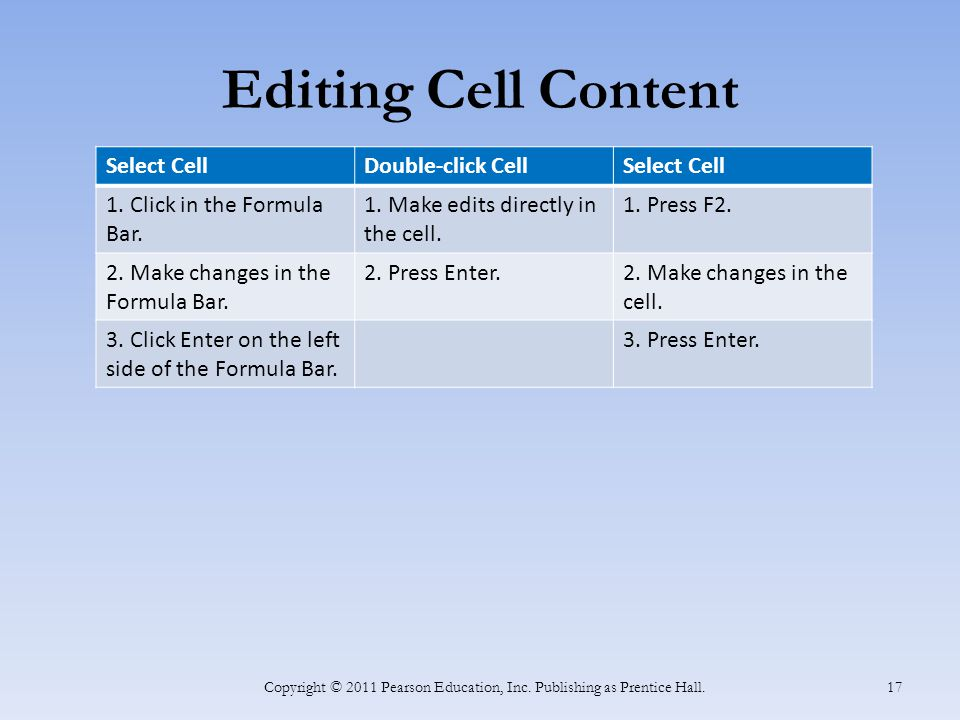Editing Cell Content Copyright © 2011 Pearson Education, Inc.