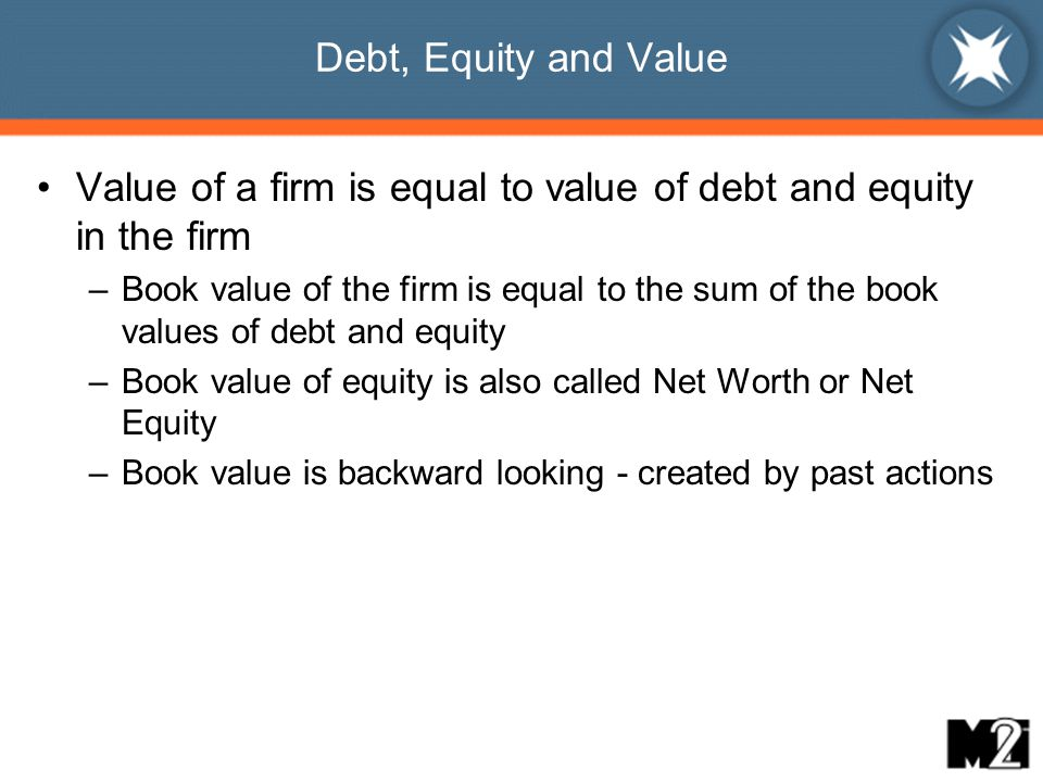 Debt, Equity and Value Value of a firm is equal to value of debt and equity in the firm –Book value of the firm is equal to the sum of the book values of debt and equity –Book value of equity is also called Net Worth or Net Equity –Book value is backward looking - created by past actions