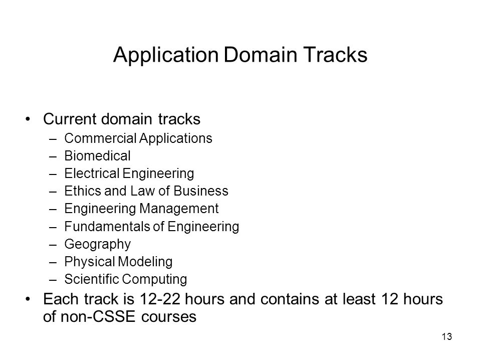 13 Application Domain Tracks Current domain tracks –Commercial Applications –Biomedical –Electrical Engineering –Ethics and Law of Business –Engineering Management –Fundamentals of Engineering –Geography –Physical Modeling –Scientific Computing Each track is hours and contains at least 12 hours of non-CSSE courses