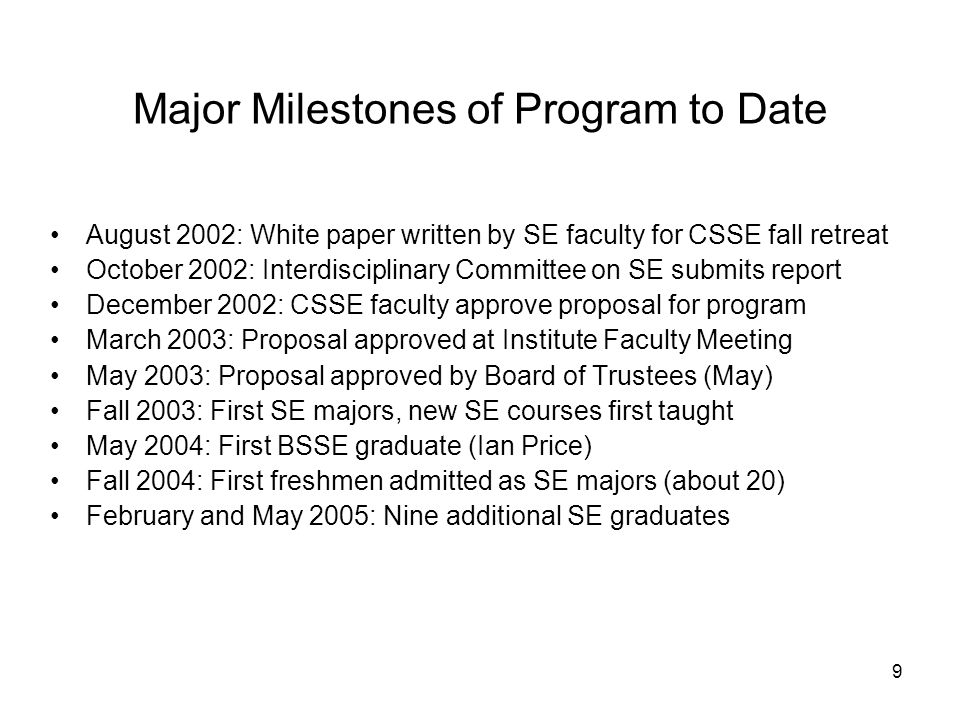9 Major Milestones of Program to Date August 2002: White paper written by SE faculty for CSSE fall retreat October 2002: Interdisciplinary Committee on SE submits report December 2002: CSSE faculty approve proposal for program March 2003: Proposal approved at Institute Faculty Meeting May 2003: Proposal approved by Board of Trustees (May) Fall 2003: First SE majors, new SE courses first taught May 2004: First BSSE graduate (Ian Price) Fall 2004: First freshmen admitted as SE majors (about 20) February and May 2005: Nine additional SE graduates