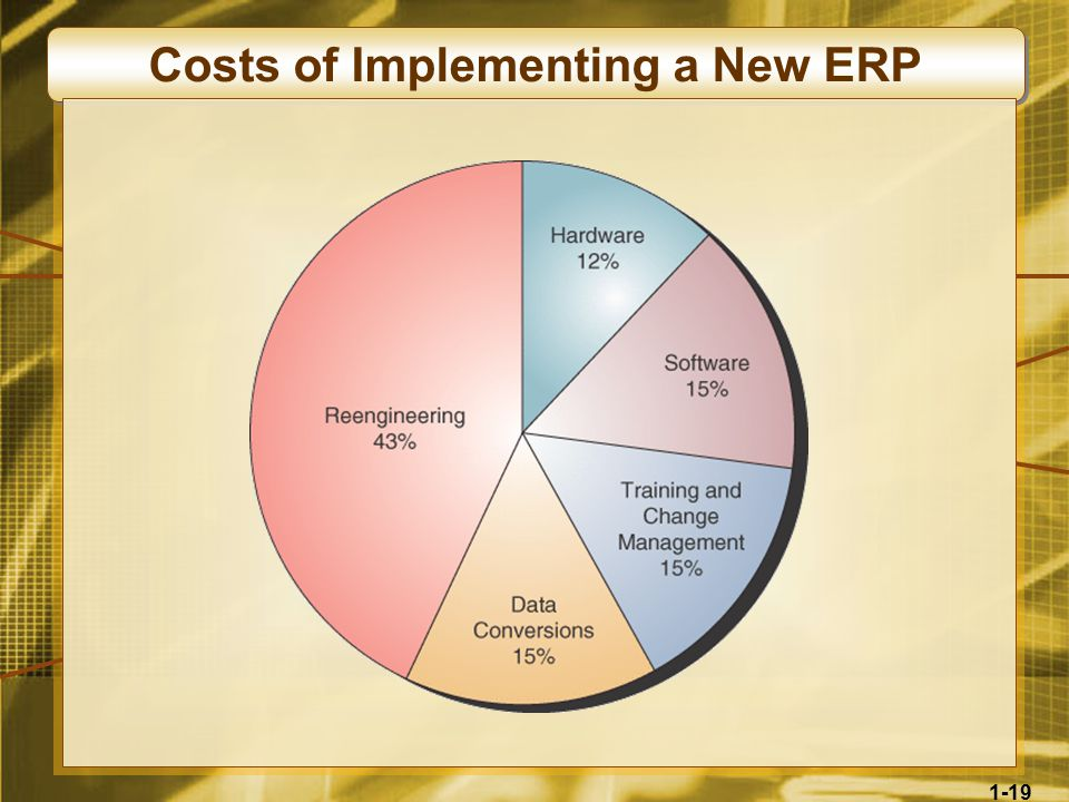 1-19 Costs of Implementing a New ERP
